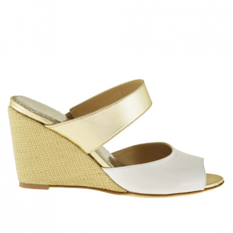 Woman comfortable open mules shoes with fabric wedge in white patent leather and platinum leather - Available sizes:  42