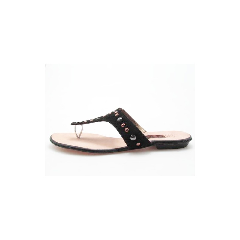 Flip flop mule with studs in black suede heel 1 - Available sizes:  42