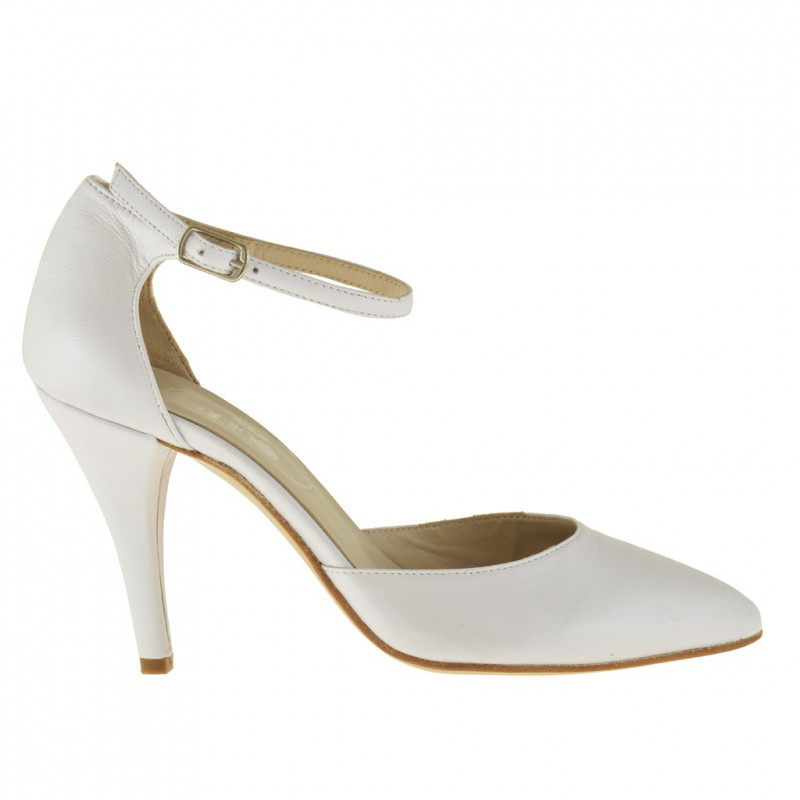 Woman pump with sides cut and anklestrap in white pearled leather - Available sizes:  43