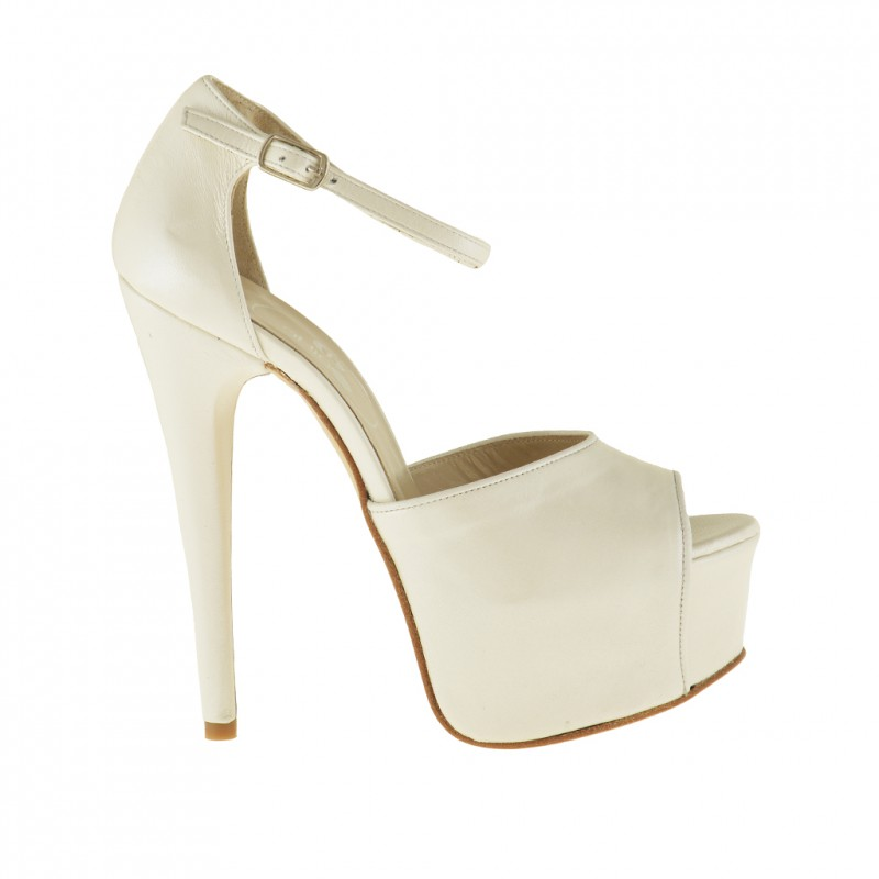 Woman platform open pump with anklestrap in pearled ivory leather - Available sizes:  42