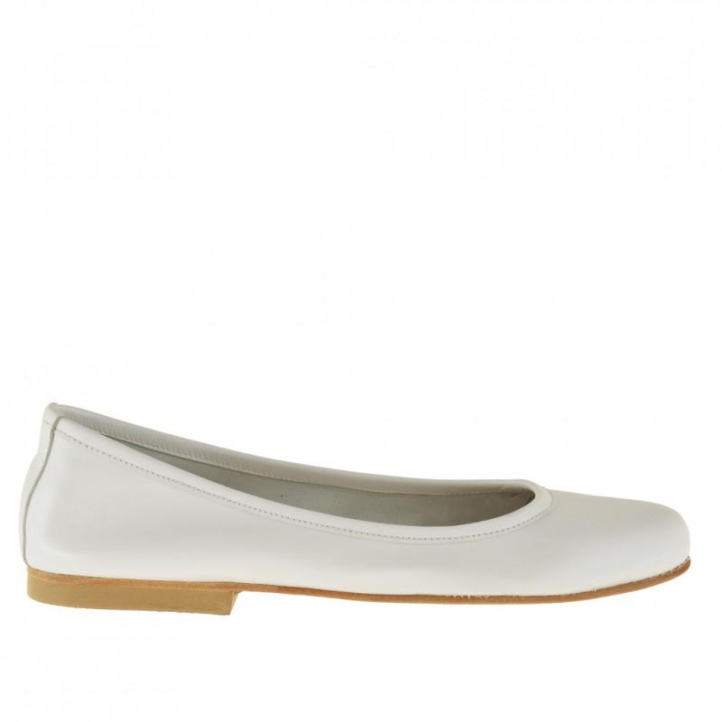 Ballerine pour femmes en cuir blanc perlé talon 1 - Pointures disponibles:  32