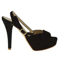 Sandalo da donna con cinturino alla caviglia e plateau in pelle scamosciata colore nero - Misure disponibili: 42, 46