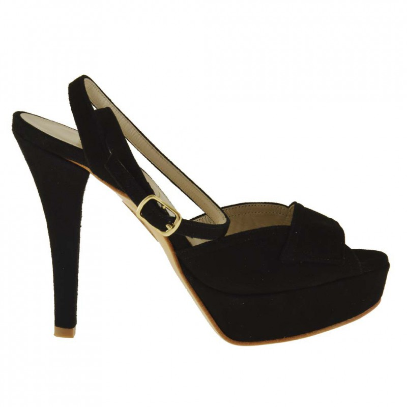 Woman platform sandal with anklestrap in black suede - Available sizes:  42, 46
