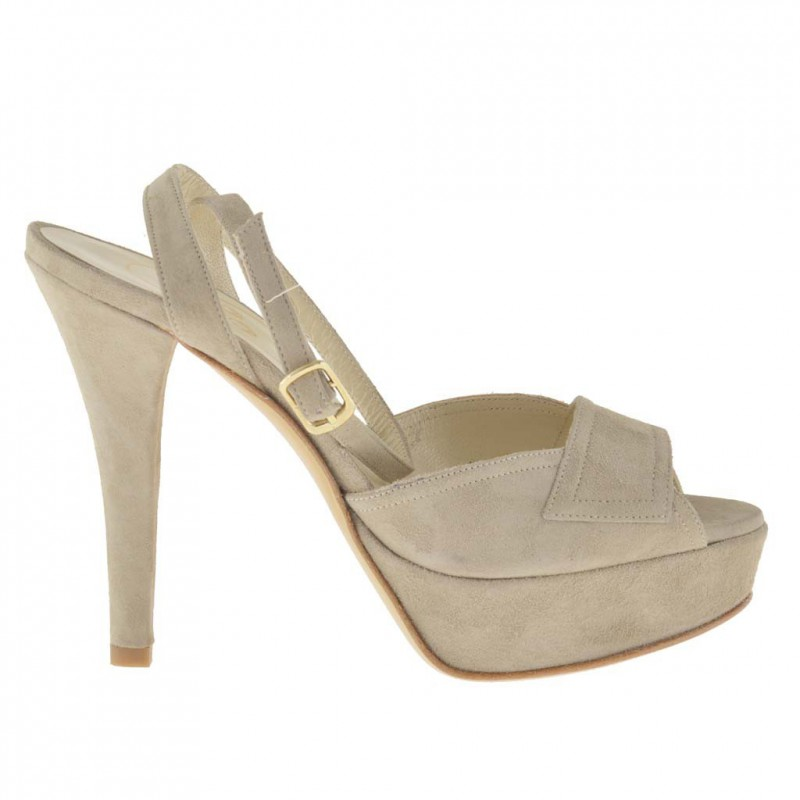 Woman platform sandal with anklestrap in beige suede - Available sizes:  47
