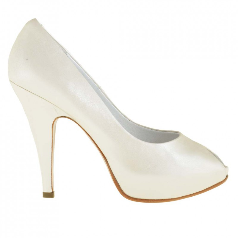 Damen Open Toe Pumps mit versteckt Plattform aus perlförmig Elfenbein Leder mit Absatz 10 - Verfügbare Größen:  45, 46