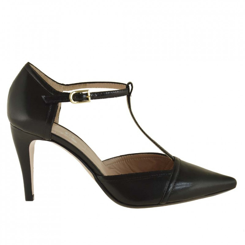 Woman side cuts pumps with t-strap in black leather with heel 9 - Available sizes:  42