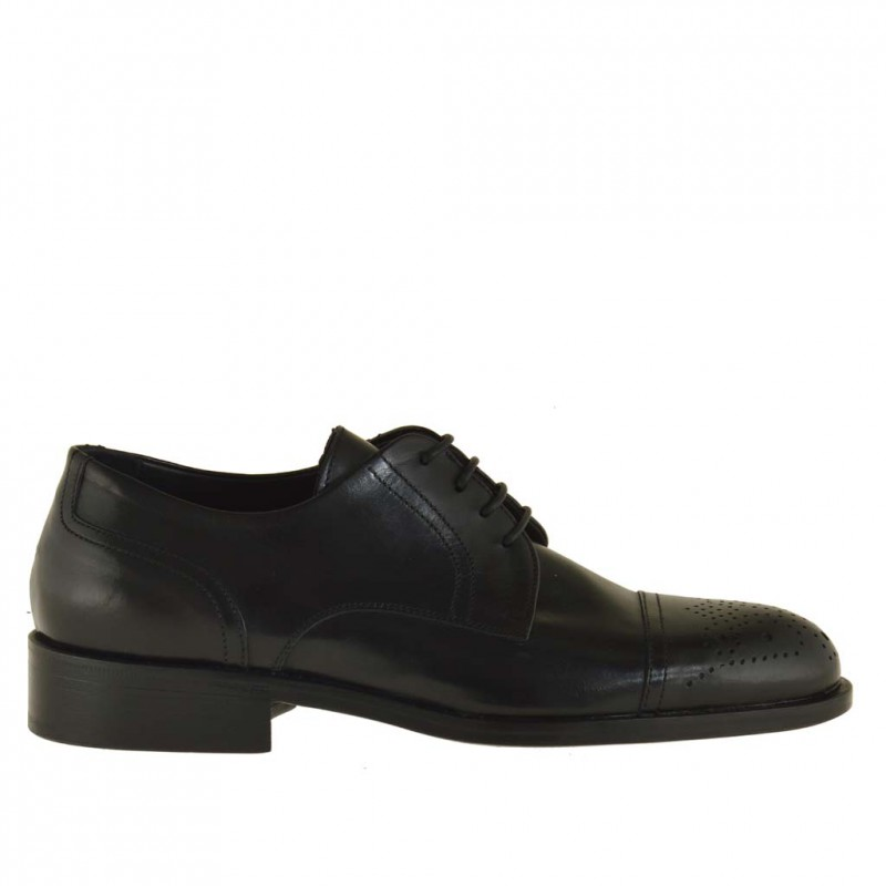 Men's derby laced shoe with decorations in black leather - Available sizes:  36