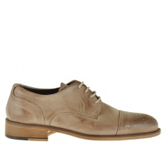 Men's laced derby shoe with floral captoe in beige leather - Available sizes:  46, 49, 50