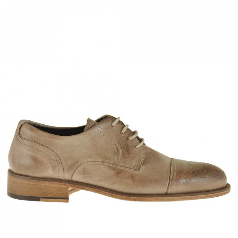 Chaussure derby à lacets et bout droit fleuri pour hommes en cuir beige - Pointures disponibles:  46, 50
