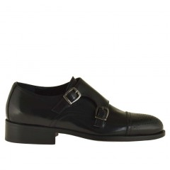 Men elegant shoe with 2 buckles in black leather - Available sizes:  48, 50