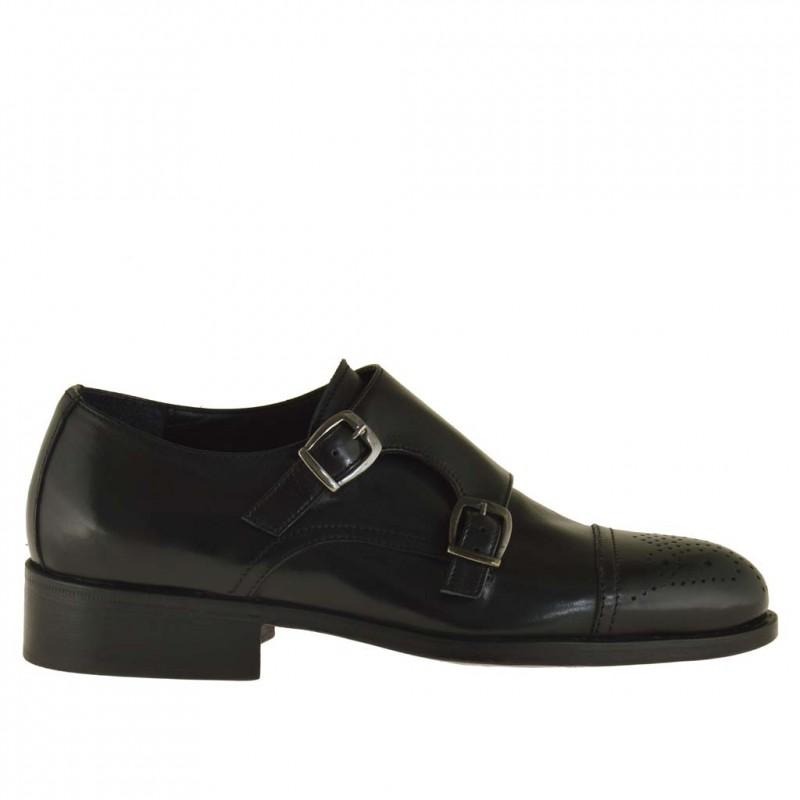 Elegante Herrenschuhe mit zwei Schnallen und Kappe aus schwarzem Leder - Verfügbare Größen:  50