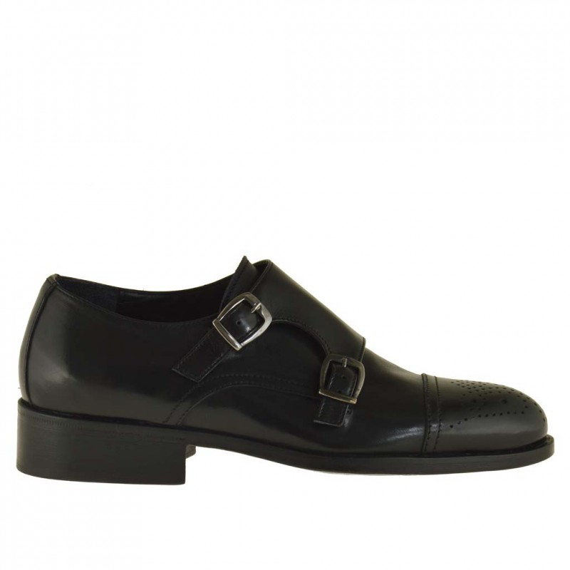 Man's elegant shoe with two buckles and captoe in black leather - Available sizes:  50