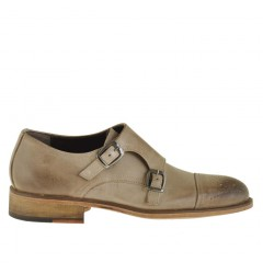 Man's elegant shoe with two buckles and captoe in beige leather - Available sizes:  49, 50