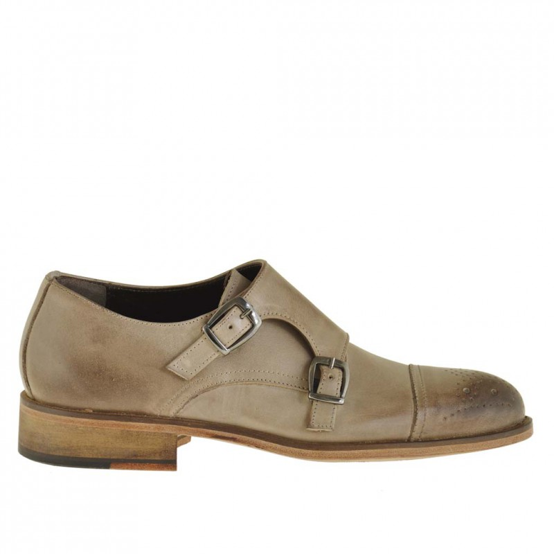 Men elegant shoe with 2 buckles in earth tone leather - Available sizes:  49, 50