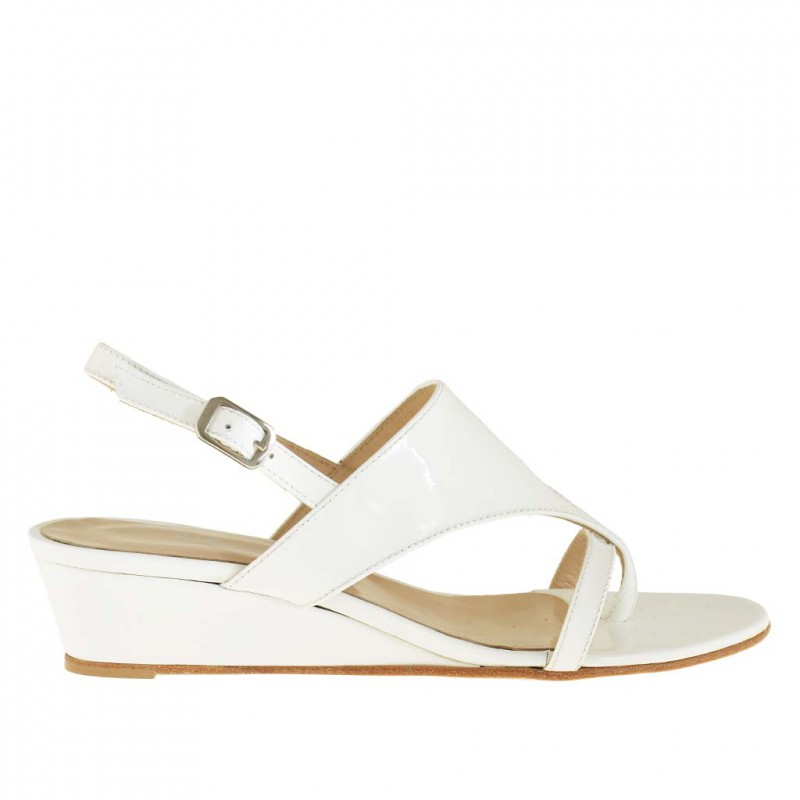 Woman flip-flop sandal with wedge in white patent leather - Available sizes:  42