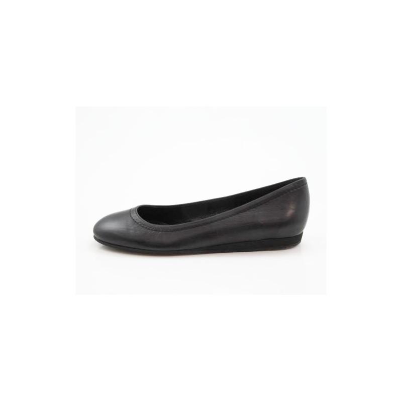 Ballerine pour femmes en cuir noir talon compensé 1 - Pointures disponibles:  32
