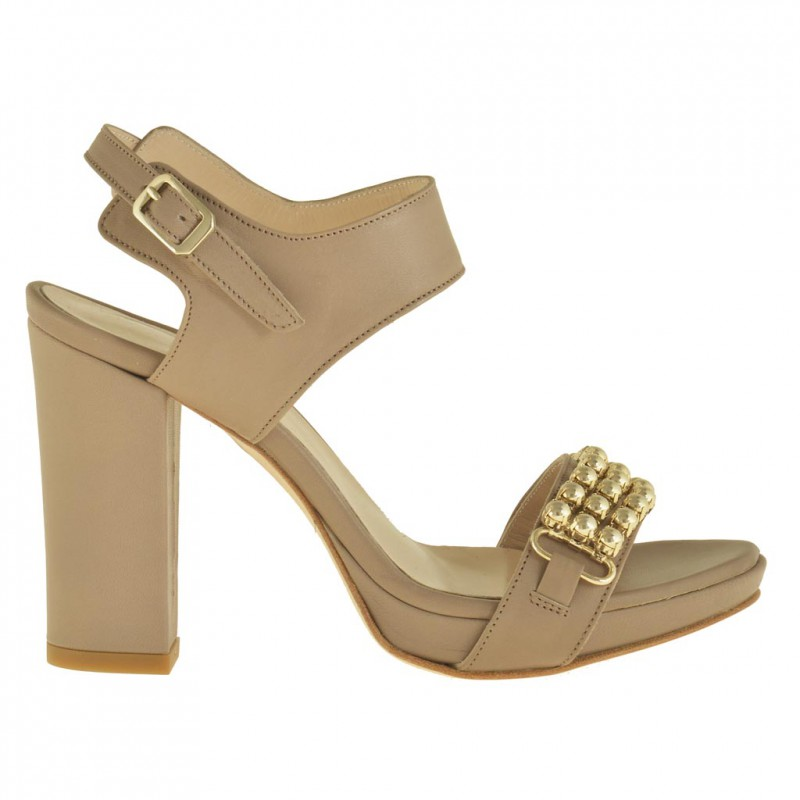Woman platform sandal with ankle strap in dark beige leather with heel 9 - Available sizes:  42