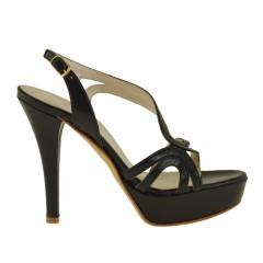 Sandalo da donna con plateau in pelle colore nero - Misure disponibili: 42