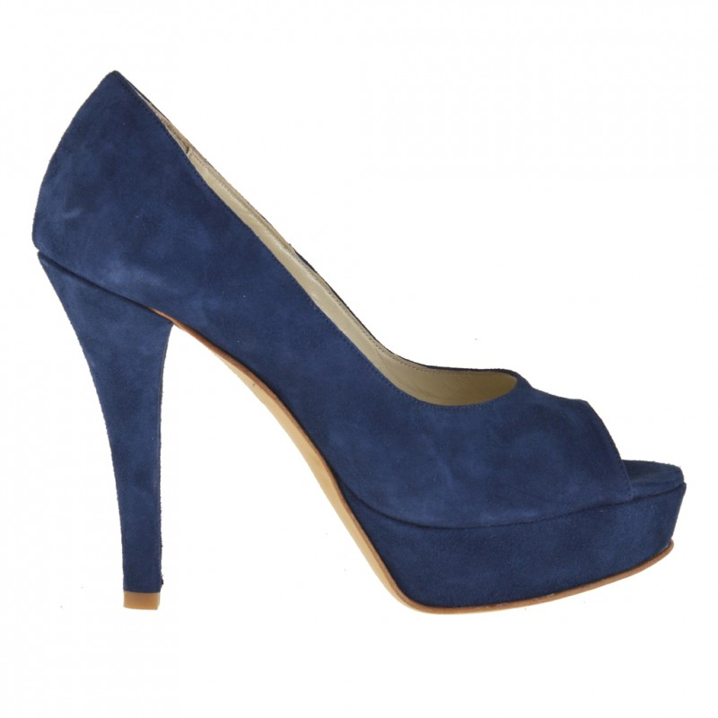 Woman open toe platform pumps in dark blue suede  - Available sizes:  31