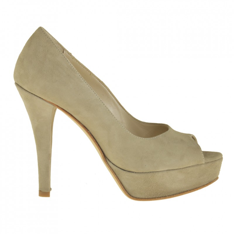 Woman open toe platform pumps in beige suede  - Available sizes:  46