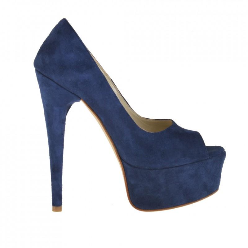 Femme plateforme escarpin a bout ouvert en daim bleu foncé et talon 14 - Pointures disponibles:  42
