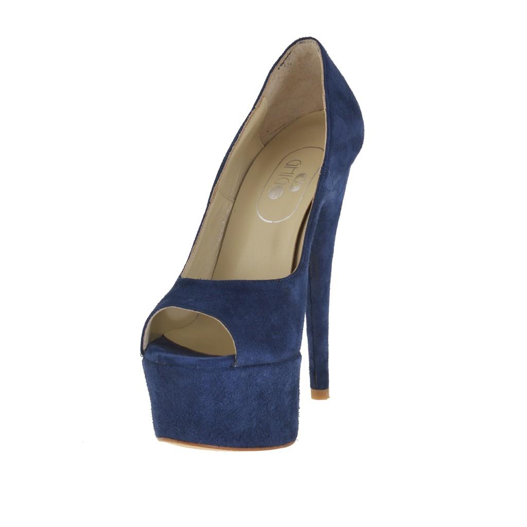 Colore Da Donna In Aperta Scamosciata Blu Scarpa Plateau Con Pelle ORdwW8xq