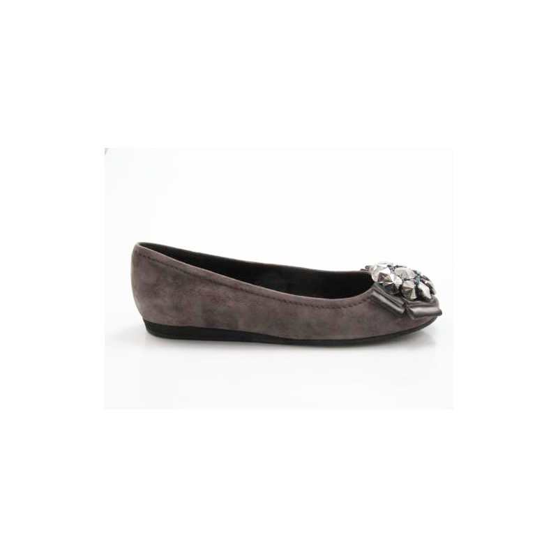 Ballerina with flower in grey suede wedge heel 1 - Available sizes:  32
