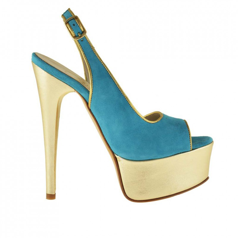 Woman sandal with slingback strap in light blue suede and platinum leather - Available sizes:  31
