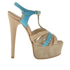 Sandalo da donna charleston con plateau in pelle scamosciata colore beige e azzurro - Misure disponibili: 42, 43