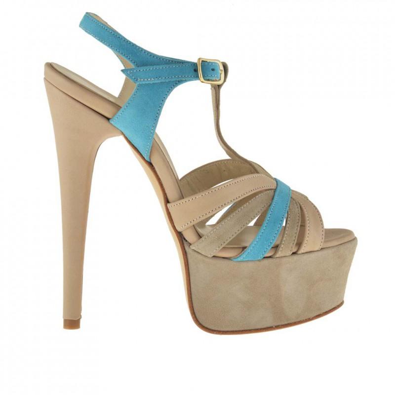Damen Plattform Sandale mit T-Riem aus beige und helle blau Sämischleder - Verfügbare Größen:  42