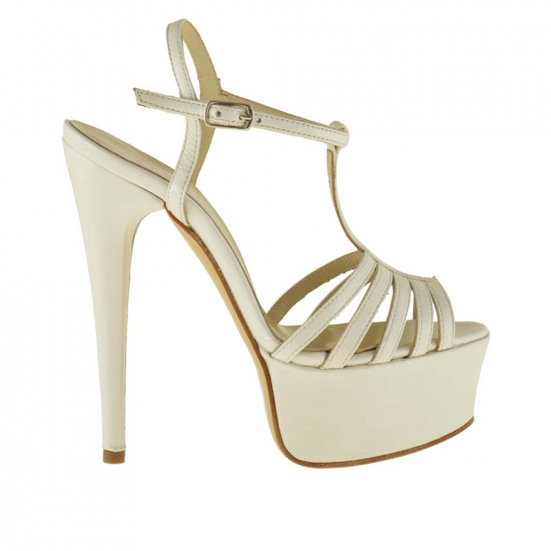 Woman platform sandal with T-strap in pearled ivory leather - Available sizes:  42, 45