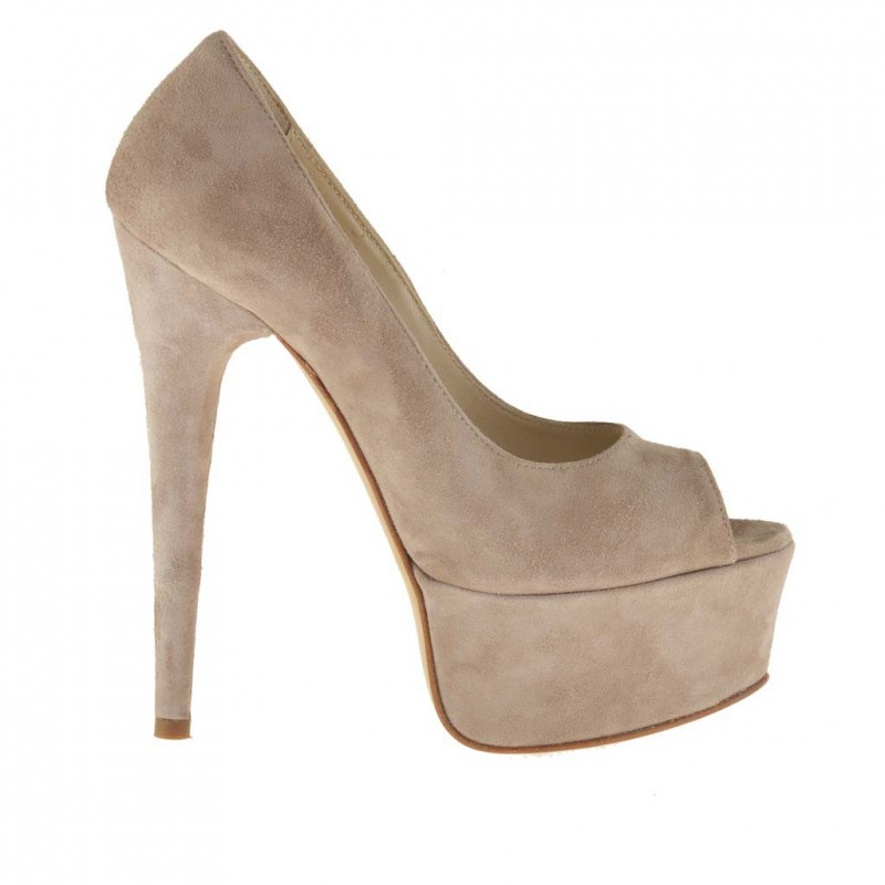 Woman open toe platform pumps in beige suede with heel 14 - Available sizes:  42