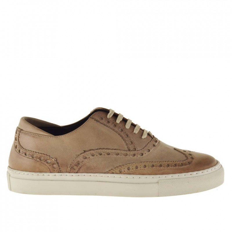 Men's casual laced shoe with wingtip in earth beige leather - Available sizes:  36