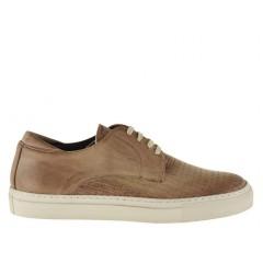 Chaussure sportif à lacets pour hommes en cuir imprimé tressé beige terre  - Pointures disponibles:  36