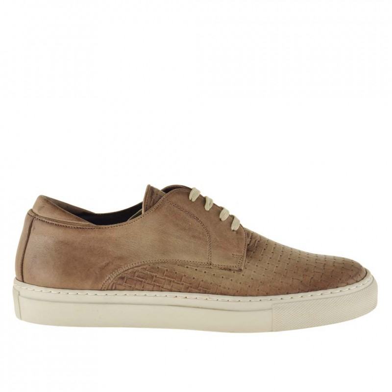 Men's casual laced shoe in earth beige braid-printed leather  - Available sizes:  36