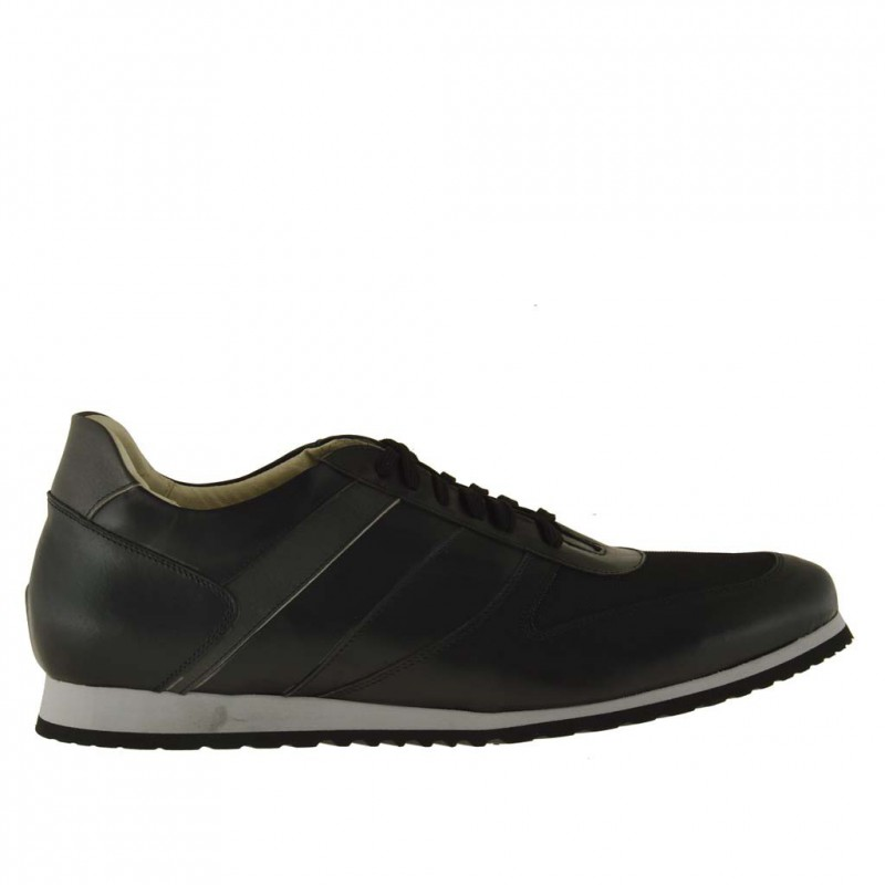 Men sport lace-up shoe in black leather and fabric  - Available sizes:  47