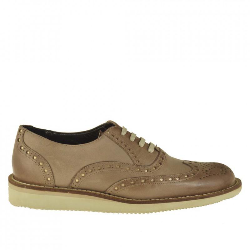 Zapato para mujer con cordones y cuña en piel de color tierra - Tallas disponibles:  45