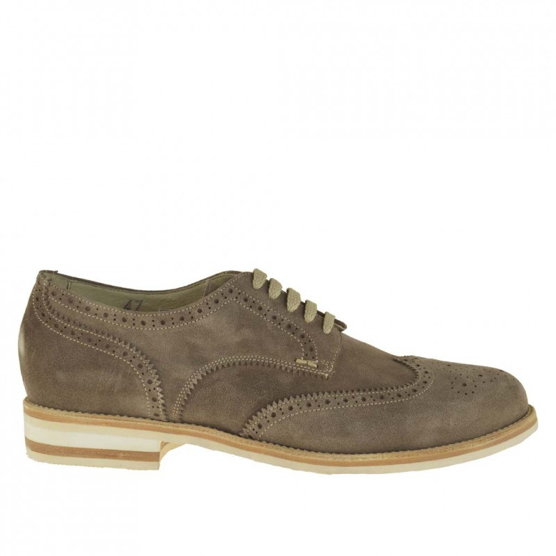 Men's casual laced derby shoe with Brogue decorations in sand beige suede - Available sizes:  47