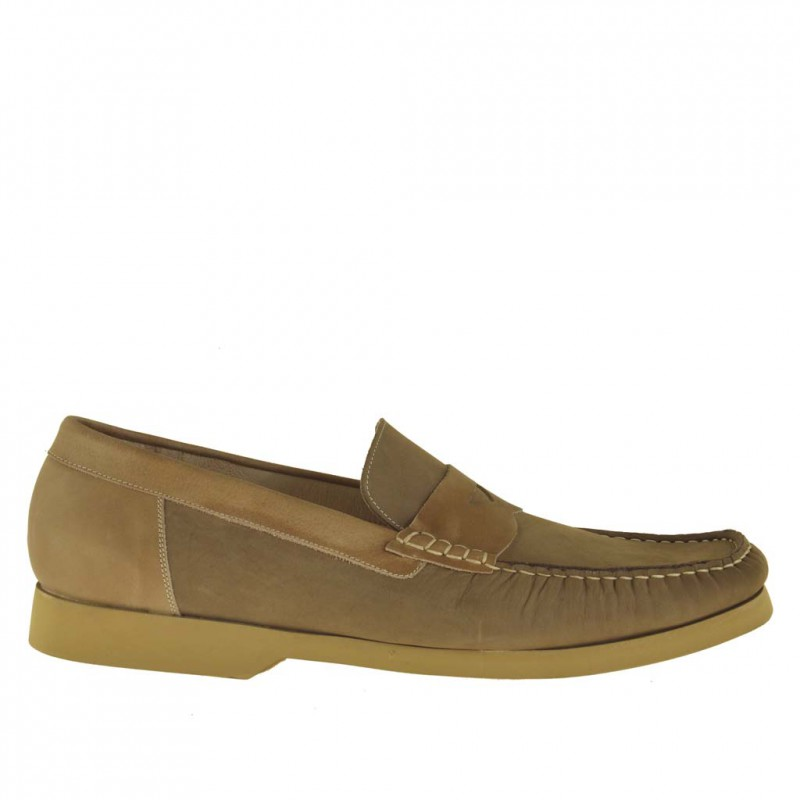 Men sport mocassin in dark beige nubuck leather with trims in mud leather - Available sizes:  48, 51