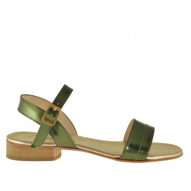 Sandale avec courroie en cuir verni vert talon 2 - Pointures disponibles:  31