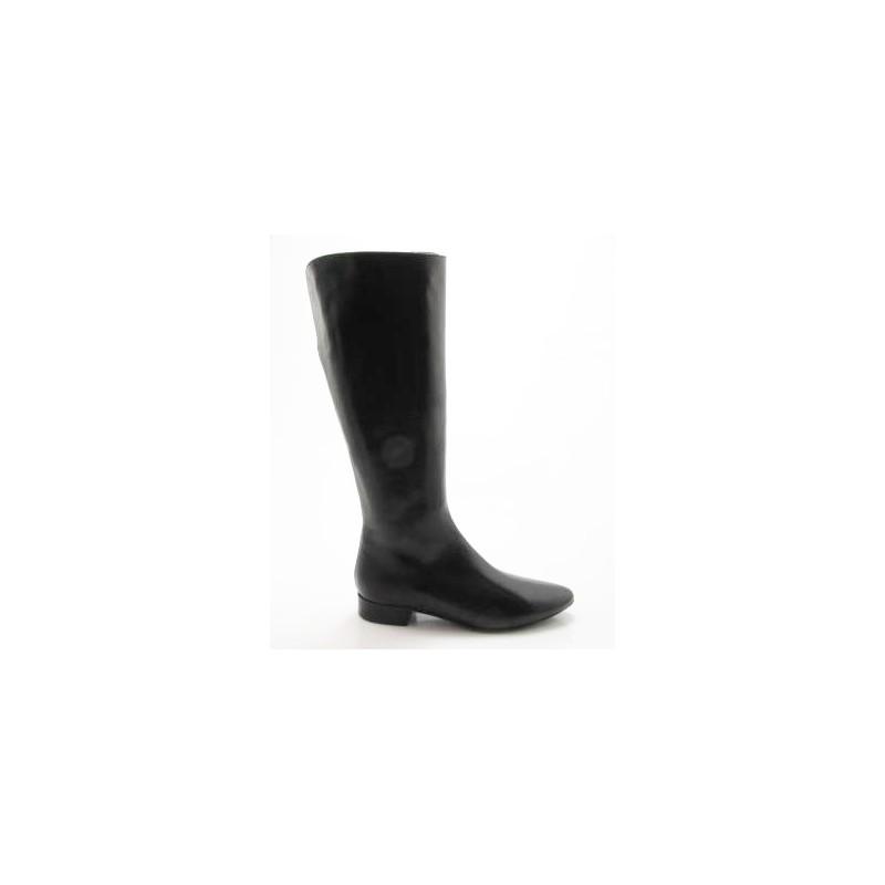 Bota para mujer a punta con cremallera en piel negra tacon 2 - Tallas disponibles:  32