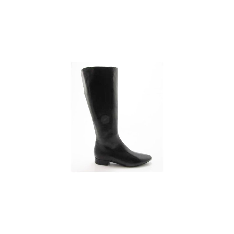 Woman's pointy boot with zipper in black leather heel 2 - Available sizes:  32