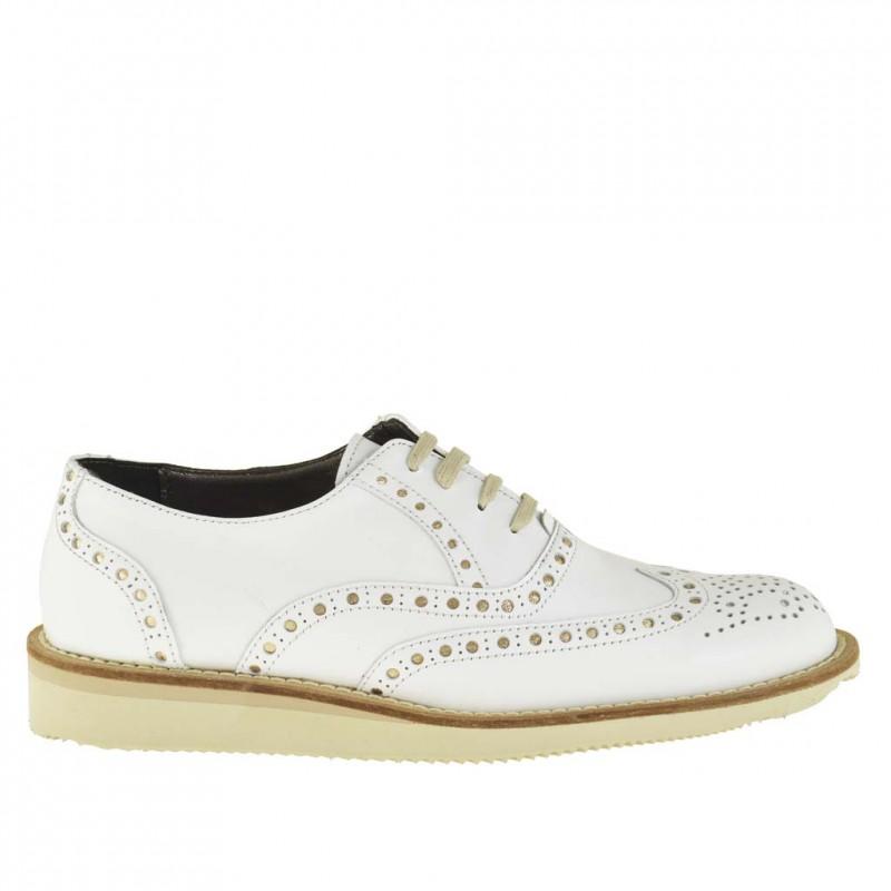 Femme cofortable chaussure avec lacets et talon compensé en cuir blanc - Pointures disponibles:  45