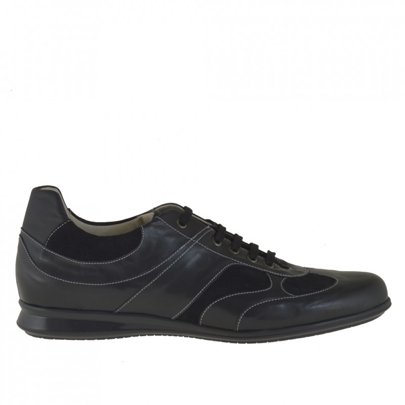 Men sport lace-up shoes in black leather and suede - Available sizes:  46, 47