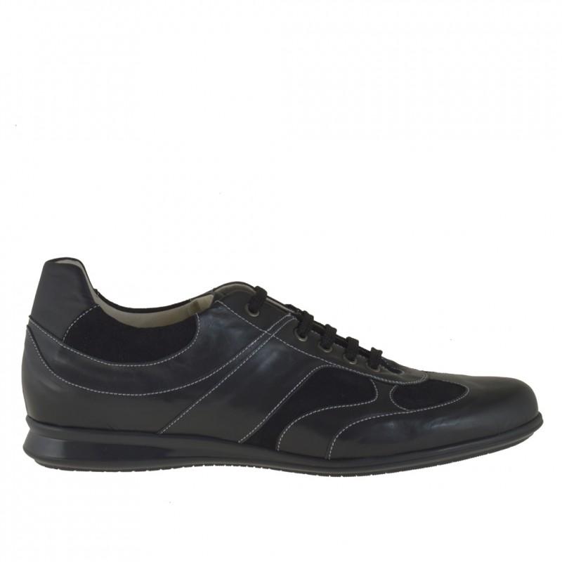 Zapato deportivo con cordones para hombre en gamuza y piel negra - Tallas disponibles:  46, 47