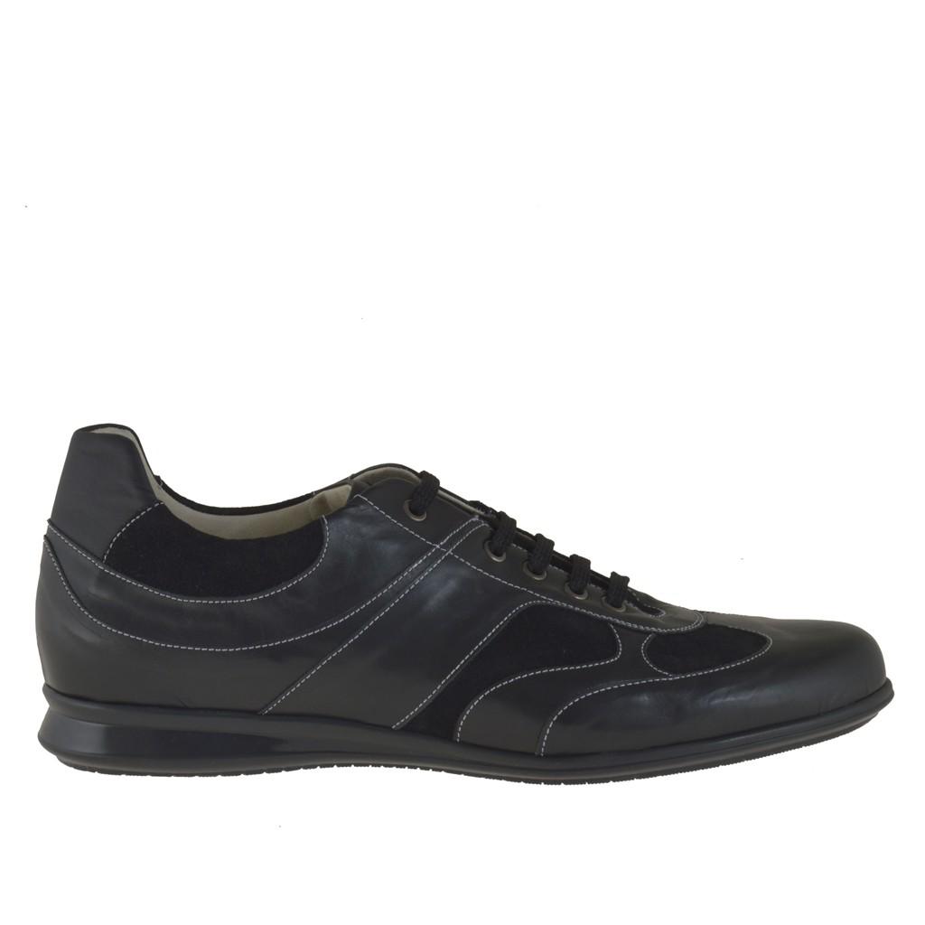 homme sportif chaussure avec lacets en cuir et daim noir ghigocalzature. Black Bedroom Furniture Sets. Home Design Ideas