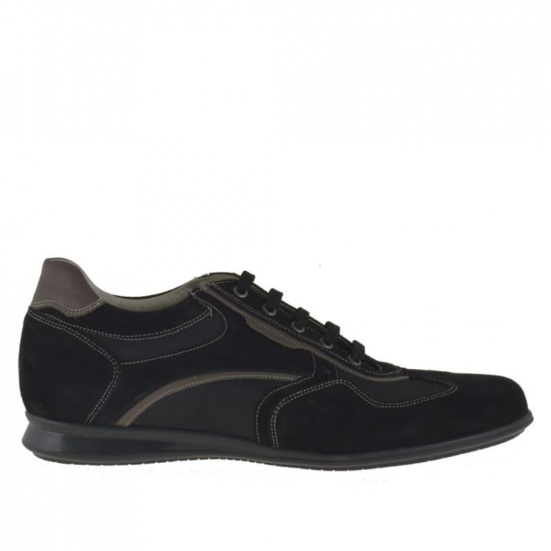 Homme sportif chaussure avec lacets en daim et tissu noir - Pointures disponibles:  46, 47, 51