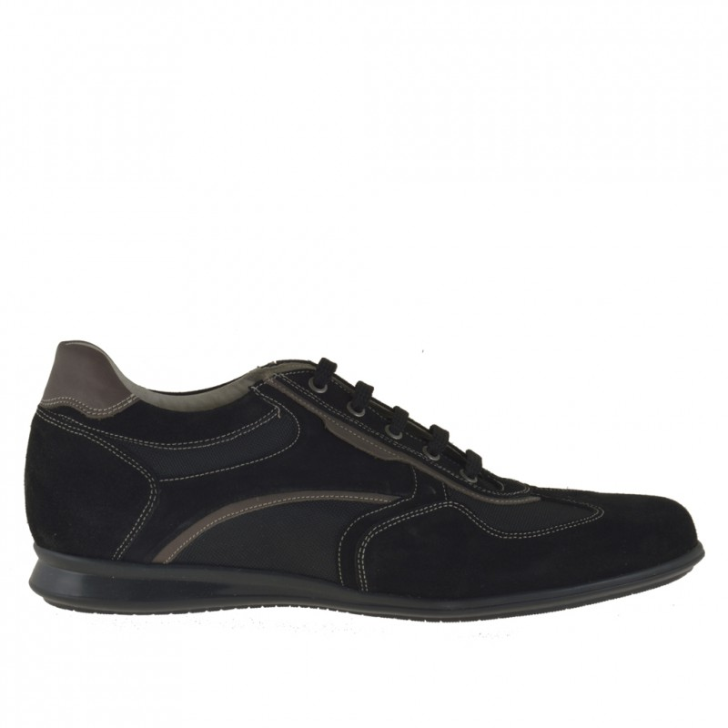 Men's casual laced shoe in black suede and fabric and taupe leather - Available sizes:  46, 47