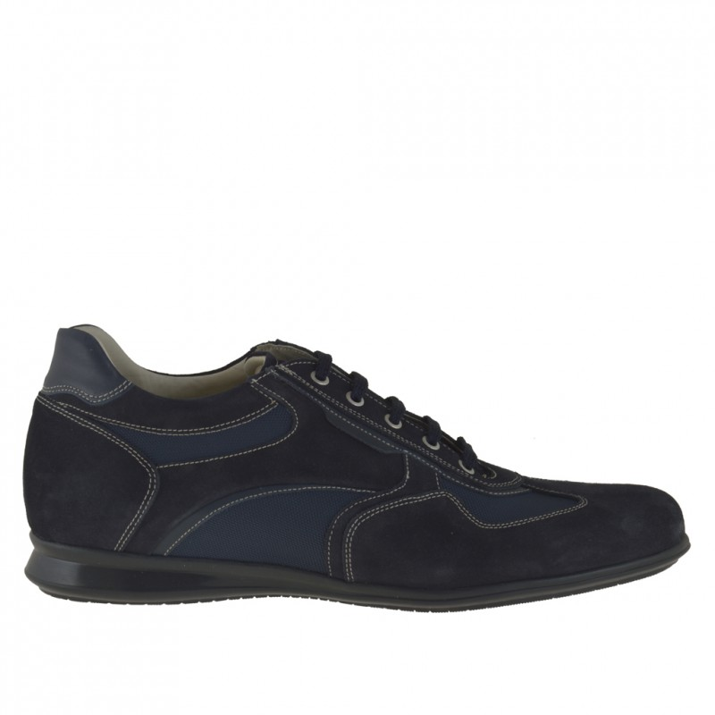 Men's casual laced shoe in blue suede, fabric and leather - Available sizes:  46