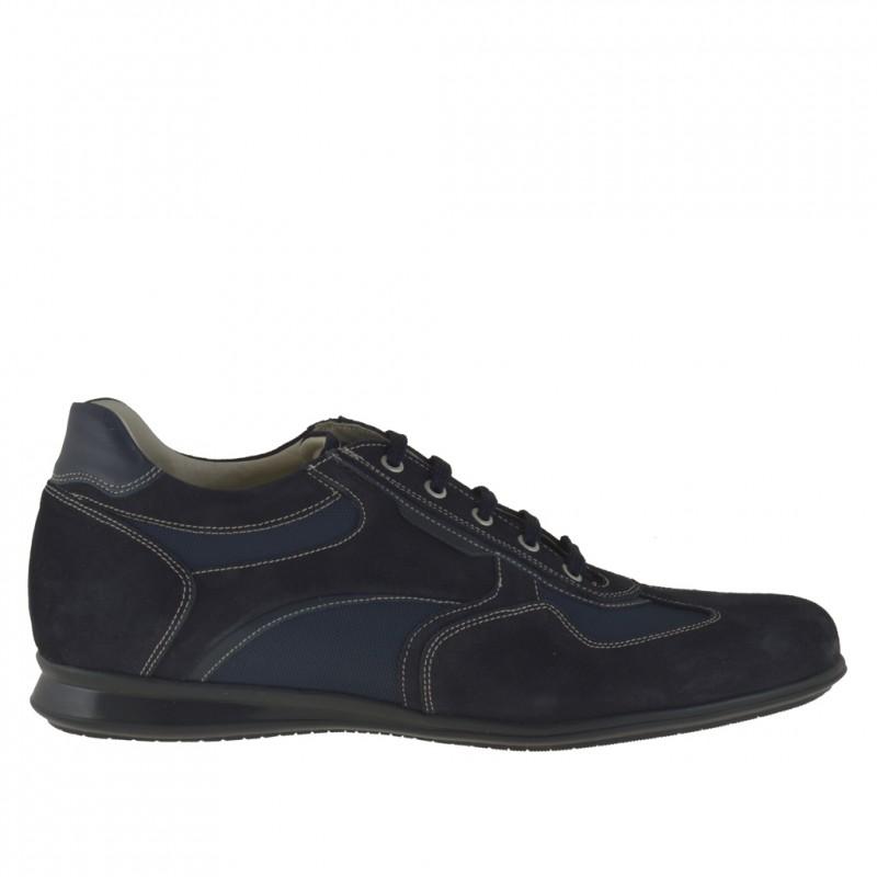 Sportlicher Herrenschuh mit Schnürsenkeln aus blauem Wildleder, Stoff und Leder - Verfügbare Größen:  46